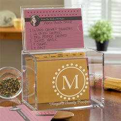 Personalized Monogram Recipe Box -..