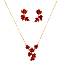 A Dozen Roses Pendant & Earring Set