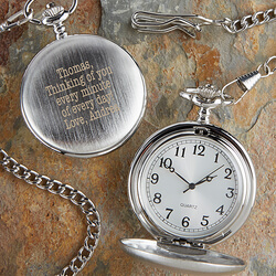 Personalized Silver Pocket Watch..