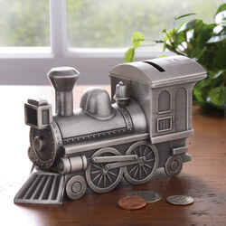 Personalized Pewter Train Bank -..