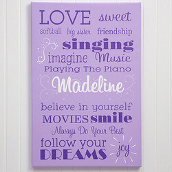 Girls Personalized Canvas Art..