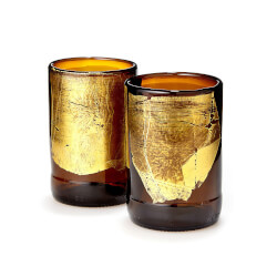 Gold Leaf Upcycled Beer Bottle..