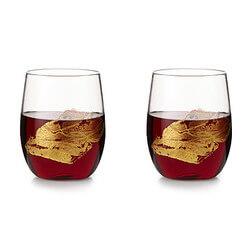 Gold Leaf Stemless Wine Glass Set