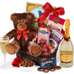 Champagne & Teddy Bear Gift Basket