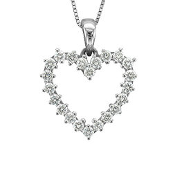 14k White Gold Heart Diamond..