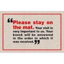 Please Stay On Mat Doormat