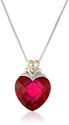 Ruby Heart And Diamond-Accent..
