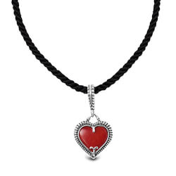 Red Coral Reversible Heart Charm