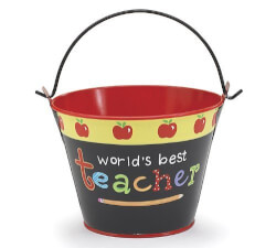 Worlds Best Teacher Tin Pail
