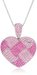 Pink Quilted Heart Necklace