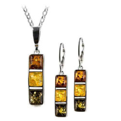 Multicolor Amber Earrings Necklace..