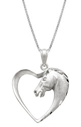 Horse In Heart Necklace Pendant
