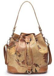 Leather Drape Map Print Handbag