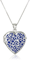 Italian Dark Blue Heart Locket