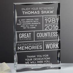 Personalized Retirement Keepsake..