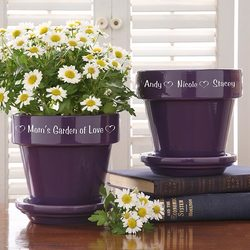 Personalized Flower Pots - Purple..