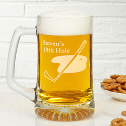 Golf Club Personalized Glass Beer..