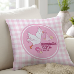 Stork Birthday Throw Pillow