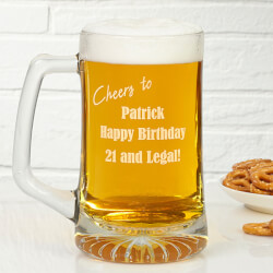 Personalized Glass Birthday Beer..