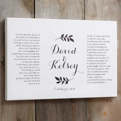 Custom Wedding Vows Canvas Print -..