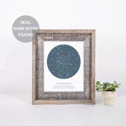 Custom Star Map Print In Barn Wood..
