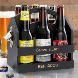 Personalized 6pk Beer Caddy Bottle..