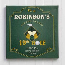 19th Hole Personalized Canvas Golf..