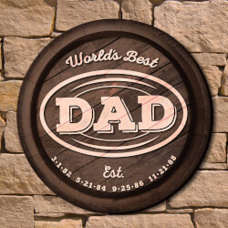 Worlds Best Dad Custom Wall Sign..