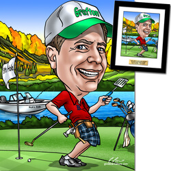 Custom Caricature For Golfers..