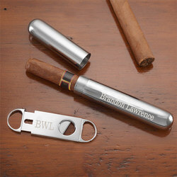Personalized Silver Cigar Case &..
