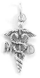 Medical Doctor Caduceus Charm 925..