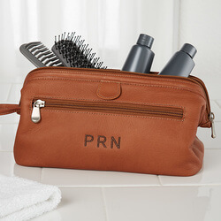 Embroidered Brown Leather Dopp Kit..